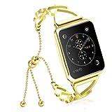 NikoStore Bands für Apple Watch Series 3 38mm,Gold Damen Edelstahl Sport Uhrenarmband für iWatch Series 4 40mm Series 3/2/1 38mm Sport Edition