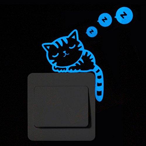 Nuevas pegatinas de Pared, Saihui Moda Lindo Gato Noctiluceno Cambio Creativo Gatito de Cristal de Vinilo Para la Decoración Casera Etiqueta Engomada de La Puerta Ligera para Interruptores (B)