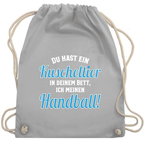 Shirtracer Handball WM 2019 Kinder - Du hast dein Kuscheltier im Bett, ich meinen Handball! - Unisize - Hellgrau - WM110 - Turnbeutel und Stoffbeutel aus Bio-Baumwolle