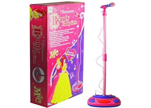 Mikrofon mit höhenverstellbarem Ständer - Standmikrofon mit Sound- und Klangeffekten - Mikrofon Karaoke Set für Mädchen - ROSA