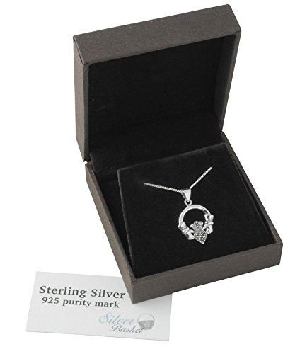 Sterling Silber und funkelnden Markasit Irish, Claddagh Anhänger mit Sterling Silber Kette.