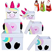 Oxford Novelties 3 Stack-able Nest Gift Present Boxes Christmas Eve Characters With 1 Treat Bag (Unicorn)