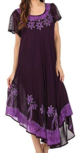 Sakkas A009 Batik-Palme mit Flügelärmeln Kaftan Kleid / Cover Up - Purple - One Size