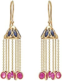 Gehna 18KT Yellow Gold, Ruby and Blue Sapphire Drop Earrings for Women