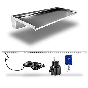60cm wasserfall edelstahl einsatz diy mit led beleuchtung rgb licht f r steinmauer wand. Black Bedroom Furniture Sets. Home Design Ideas