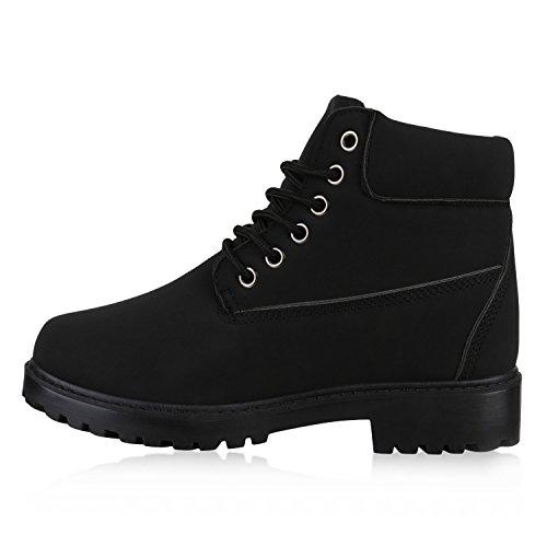 UNISEX Damen Herren Worker Boots Profil Sohle Stiefeletten Outdoor Schuhe Schwarz Total