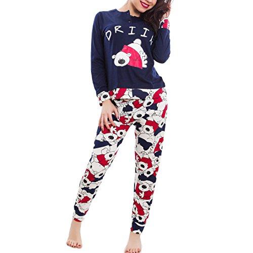 Toocool - Pigiama donna ORSO orsetti maniche lunghe kawaii pantaloni nuovo BE-7655 Blu