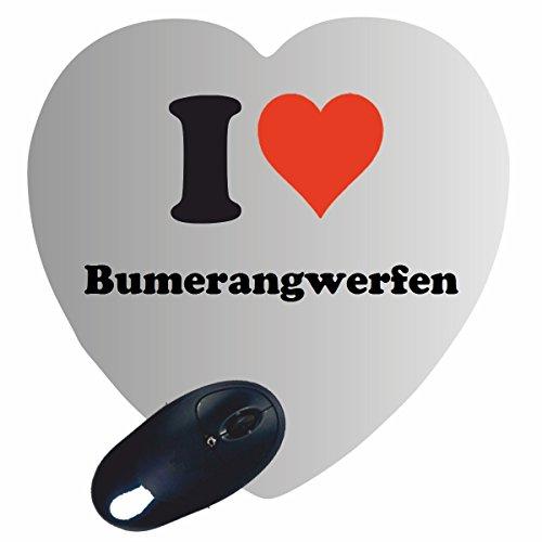 """Exklusive Geschenkidee: Herz Mauspad """"I Love Bumerangwerfen"""" eine tolle Geschenkidee die von Herzen kommt- Rutschfestes Mousepad- Weihnachts Geschenktipp"""