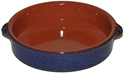Amazing Cookware 25cm Terracotta Round Dish - 'Reactive Blue' by Amazing Cookware