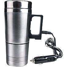 geepin acero inoxidable 12V de viaje coche eléctrica calentador de agua, aplicable a el agua hirviendo, café, leche, hervir huevos y té.