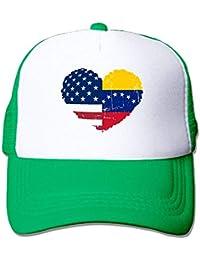 Voxpkrs Unisex Venezuela USA Flag Heart Two Tone Trucker Hat Mesh Ball Cap - The Great Outdoors Cool26638