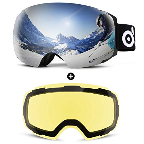Odoland Skibrille Erwachsene Skibrille Sphärische Rahmenlose Snowboardbrille mit Magnetische wechselglas brillenträger Skibrillen, OTG UV 400 Schutz u. Anti-Beschlag