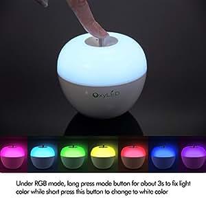 OxyLED BN05 Luce Notturna per Bambini Luce Notturna LED a Mela, Speciale Controllo A Soffio, ModalitÀ Colore Bianco Ed A Colori RGB