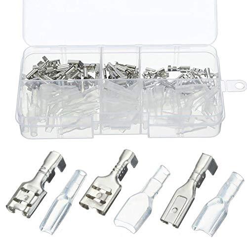 Dandeliondeme Spade-Anschlussklemmen + Isolierhülse 2.8mm 4.8mm 6.3mm Buchsen-Spaten-Verbindungsstücke Isolierhülsen-Crimp-Anschluss-Satz
