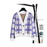 SIKESONG Plaid Vintage Cardigan Mit V-Ausschnitt Langarm Mode Sportliche Frauen Pullover, Lila, Eine Größe