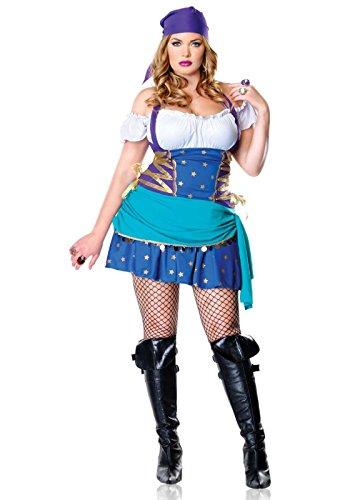Leg Übergröße Avenue Kostüm - Leg Avenue 83486X - Zigeunerin Prinzessin Kostüm, Übergröße: 44, lila/blau