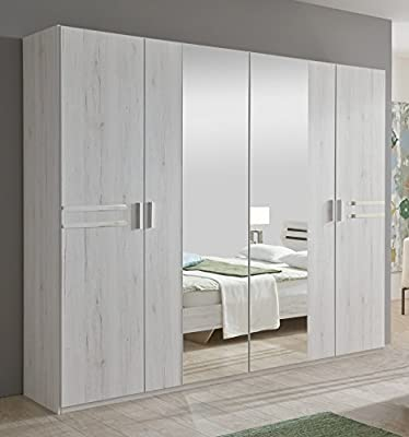 New Susan German White Oak Effect 4 Door Mirror Wardrobe Bedroom Furniture Mirrored Storage Hanging Rail 100% Made in Germany - 10 Year Guarantee produced by Wimex - quick delivery from UK.