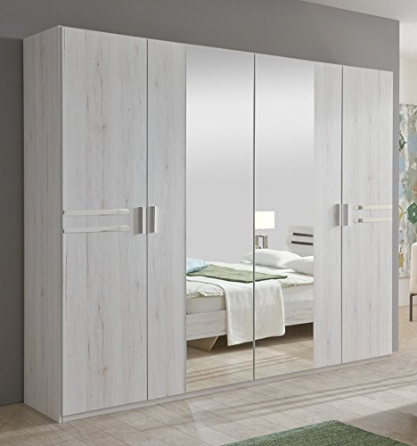 New Susan German White Oak Effect 4 Door Mirror Wardrobe