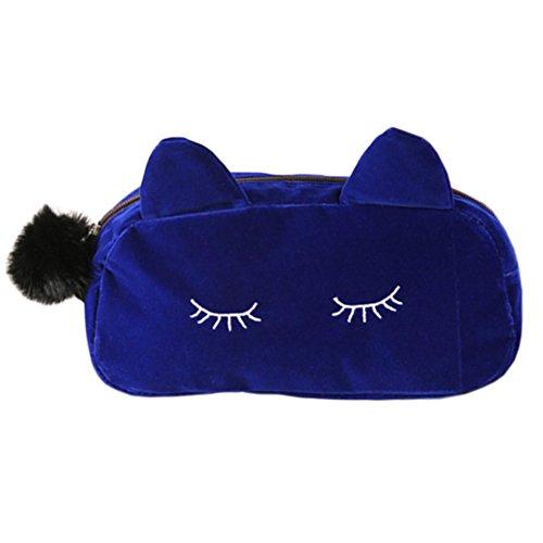 Style coréen Sac cas cosmétique de maquillage waterproof Beauty Case Cat Bleu