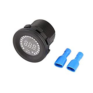 Dv 12 v tragbare größe auto motorrad wasserdichte blaue led digital panel display voltmeter spannung volt meter gauge