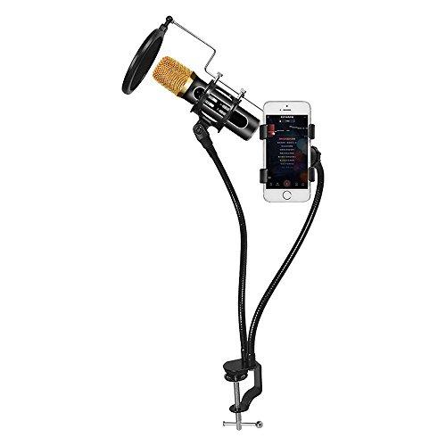 G-Hawk Verstellbare Mikrofon/Mic Suspension Boom Scissor Arm Ständer, kompakte Mic Stand aus langlebigem Stahl für Radio Broadcasting Studio, Sound Studio, Bühnen und TV-Stationen - Stand Scissor Mic Arm