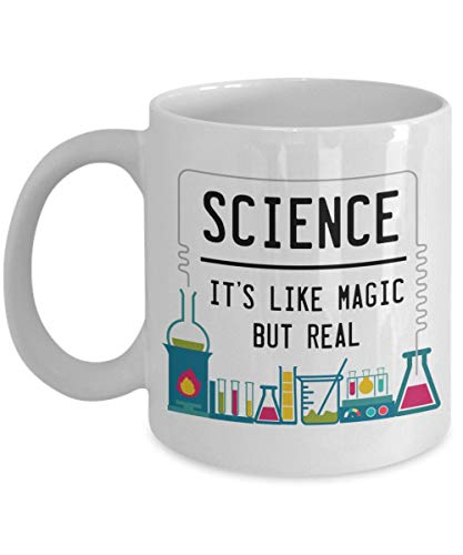 Lplpol Science It's Like Magic But Real Funny Lab Teacher Coffee Mug Tea Cup, 11 Oz -