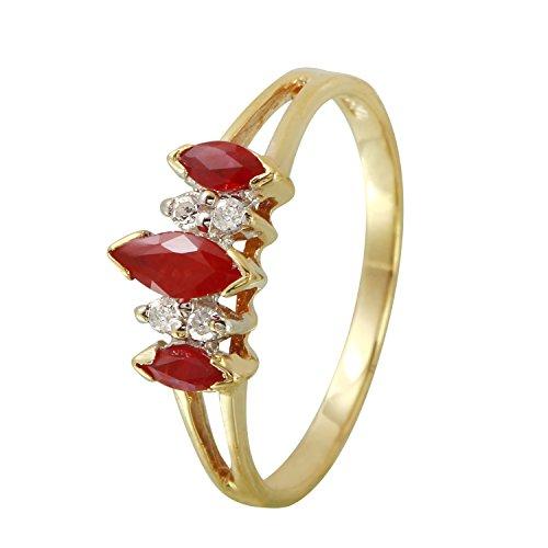 0,57Karat natürlicher Rubin Diamant 10ct Gelb Gold Engagement Ring für Frauen (Diamant-ring Gelb-gold)