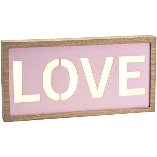 Pink Love Sign illuminato a LED Light Wall Art Hanging Cornice di legno
