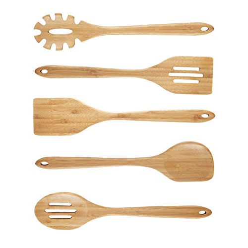 NEXGADGET Küchenhelfer Set Premium-5-Stücke Sets von Kochgeschirr mit Bambus Kochen Tools einschließlich Geschlitzter Wender,Suppenschöpfer,flexibler Wender,Servierlöffel,Spaghettilöffel