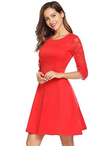 Zeela Damen Elegantes Spitze Kleid Kurze Patchwork Rundhals Abendkleider Partykleider Brautjungfernkleid Rot