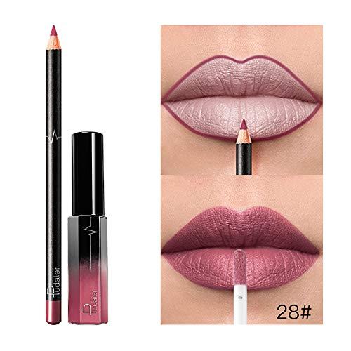 lip gloss,gaddrt Lipgloss Lang anhaltender Lippenstift Wasserdicht Matte Flüssigkeit Gloss Lip Liner Kosmetik-Set (A)