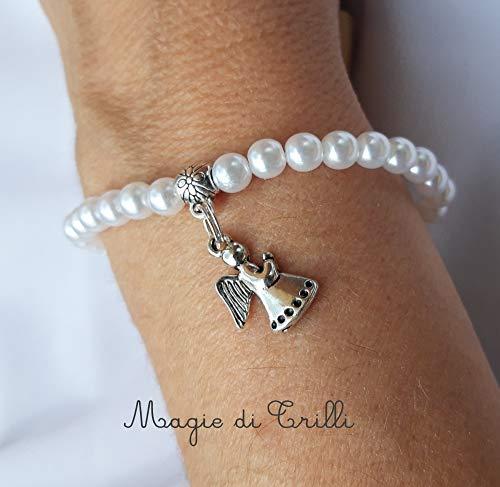 Magie di Trilli - Bracciale elastico in perle con ciondolo argento tibetano angelo custode - Idea regalo Prima Comunione Cresima