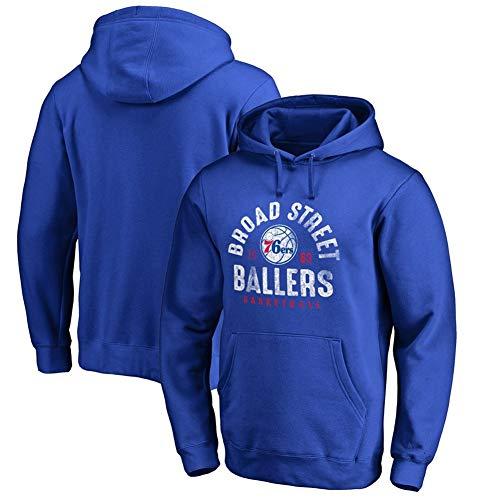 Philadelphia Kostüm - HS-HUWENHUI Basketball League/Philadelphia 76Ers Fans Kostüm Freizeitkleidung Pullover Für Kapuzenpullover Mit Praktischer Känguru-Tasche,Blau,XL175~180CM