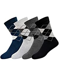 ARKYLE Men's Cotton Full Length Cushion Socks (Multicoloured, Free Size), Pack of 4