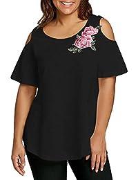 Zarupeng-Blusa de La Manera de Las Mujeres Más Tamaño Bordado Apliques Hombro Abierto Camiseta