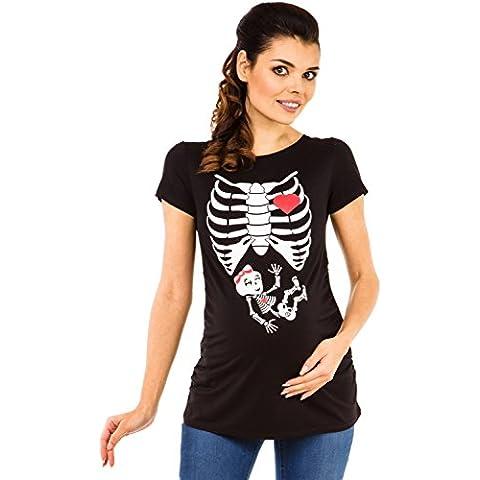 Zeta Ville - Camiseta Premamá T-shirt estampado rayos X bebita para mujer - 504c