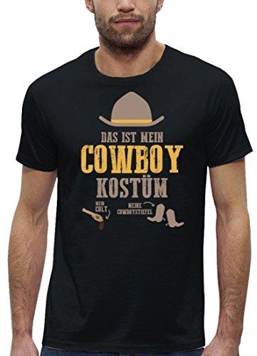 Fasching Karneval Premium Herren T-Shirt aus Bio Baumwolle Das ist mein Cowboy Kostüm Stanley Stella Black