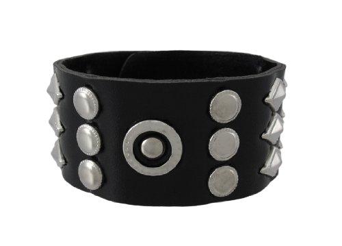 Cinturino in vinile nero con rotonda e borchie a forma di (Accent Diamante Bracciale)