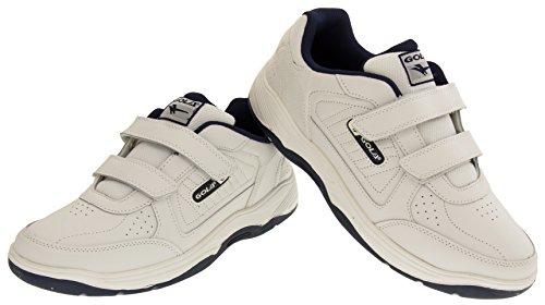 Gola AMA202 Belmont Cuir Véritable Baskets Velcro Hommes Blanc - White Velcro
