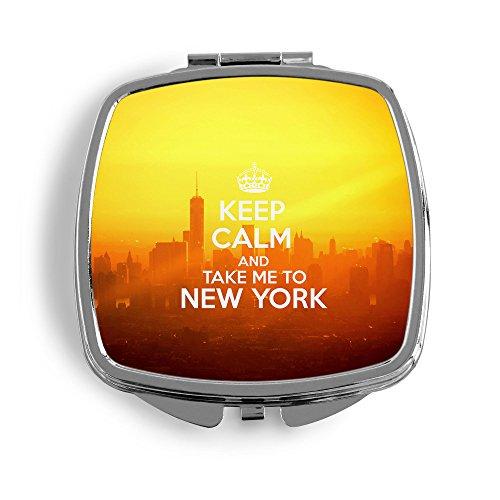 Keep Calm And Take Me To New York Metall Taschenspiegel Kosmetik Beauty Spiegel Klappbar Bedruckt Vintage NY USA Amerika