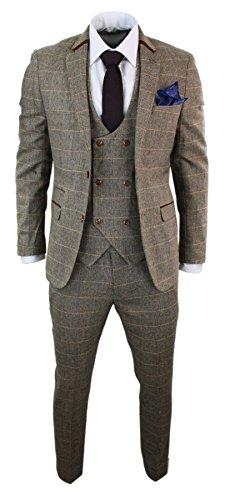 Fischgräten-anzug (marc darcy Herrenanzug 3 Teilig Braun Fischgräte Tweed Design Kariert Tailored Fit Klassisch)