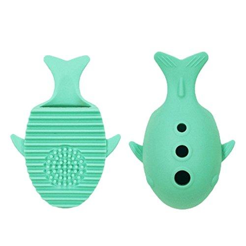 samLIKE Whale Silikon Make-Up Pinsel Reinigung Waschen Halter Werkzeuge Kosmetik Bord Ständer (Grün)