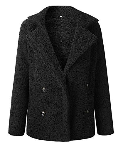 Puluo Long Sleeve Fluffy Fur Jacket Fleece Coat Plus Size Cardigan Outwear Pockets Black S