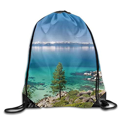 CSXKUL Blue Tranquil View of Lake Tahoe Sierra Pines On Rocks with Turquoise Waters Shoreline Drawstring Bags Tour Backpack for Teens College Shoreline Fällen