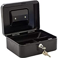 خزنة معدنية صغيرة بمفتاح، لون أسود