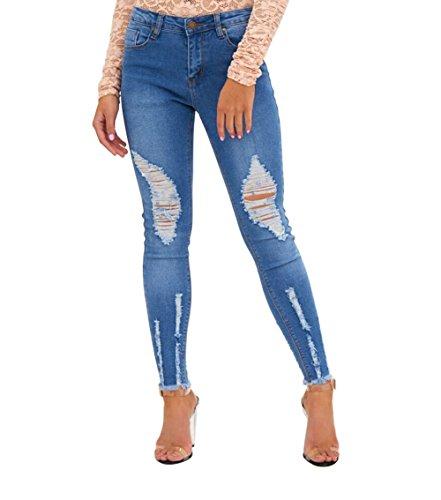 Mena Donna Elastico Strappato Blu jeans Pantaloni a matita Blu ... 83b821f9fa29