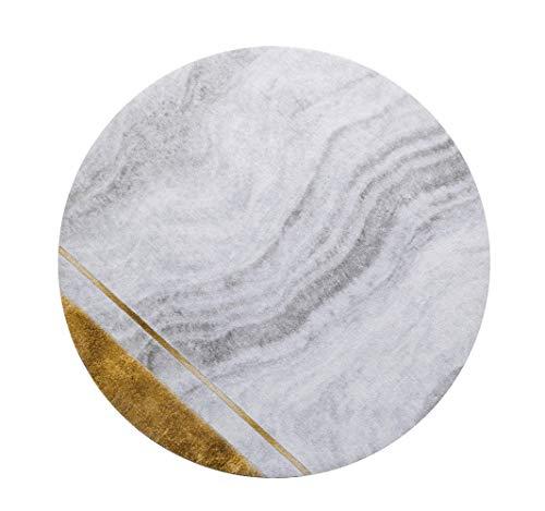 ZCXBB Villa runder Teppich modetrend licht Wohnzimmer runden Teppich Hause goldene couchtisch Decke einfache Stein Muster verdickung Stuhl Matte (Color : Silver, Size : XXL) -