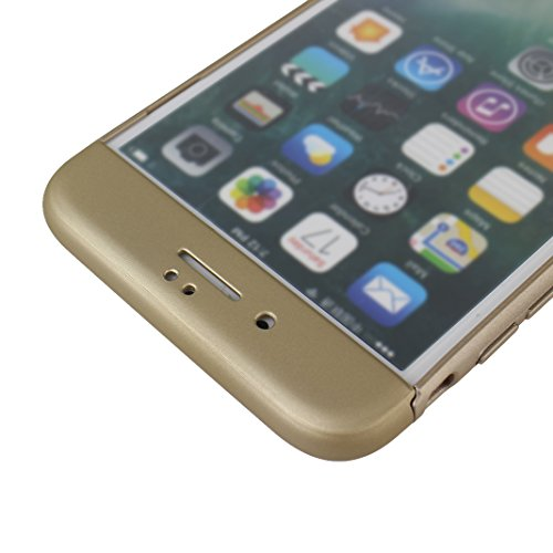 iPhone 7 Plus Hartschale, iPhone 7 Plus 3 in 1 Hülle, iPhone 7 Plus Full Body Case, Moon mood® 3 in 1 Anti-Fingerprint Kratzfeste Kunststoff Harte Rückseite Case Bumper Schutzhülle für Apple iPhone 7  T Champagner gold