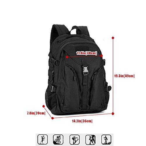 Zaino Unisex 40L Tattico Militare Studente Zaino Outdoor Sport Backpack per Viaggio Escursionismo Campeggio Alpinismo,Nero Nero