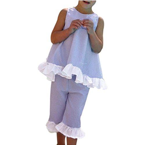 Bonjouree Shorts Et Haut Fille T-Shirt sans Manches de Bow Et Pantalon Court Ensembles Ete pour Enfant Fille 1-7 Ans (Violet, 3 Ans)